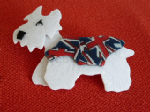Lea Stein Terrier Dog -  Rare Kimdoo the Terrier in Patriotic Union Jack Flag Jacket  SOLD